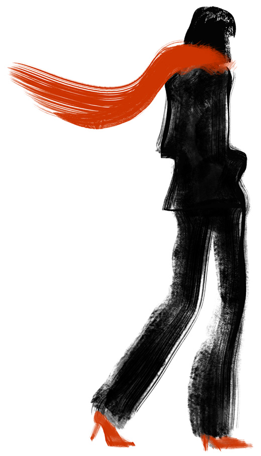 parisienne-echarpe-rouge-encre